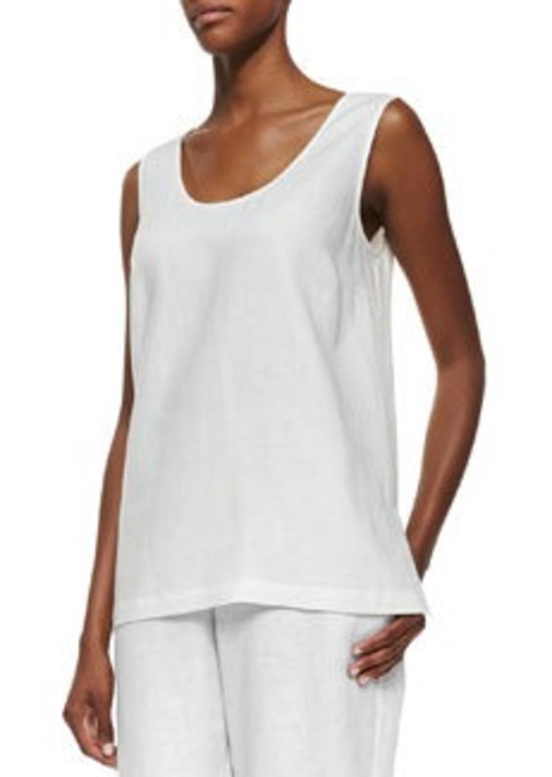 Go Silk Linen Scoop-Neck Tank, White
