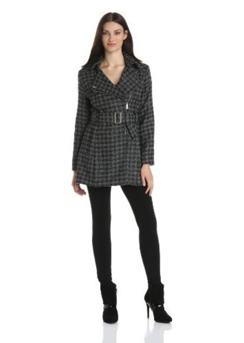 Kenneth Cole New York Women's Asymmetrical Houndstooth Coat