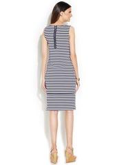 Alfani Sleeveless Striped Crochet-Trim Dress