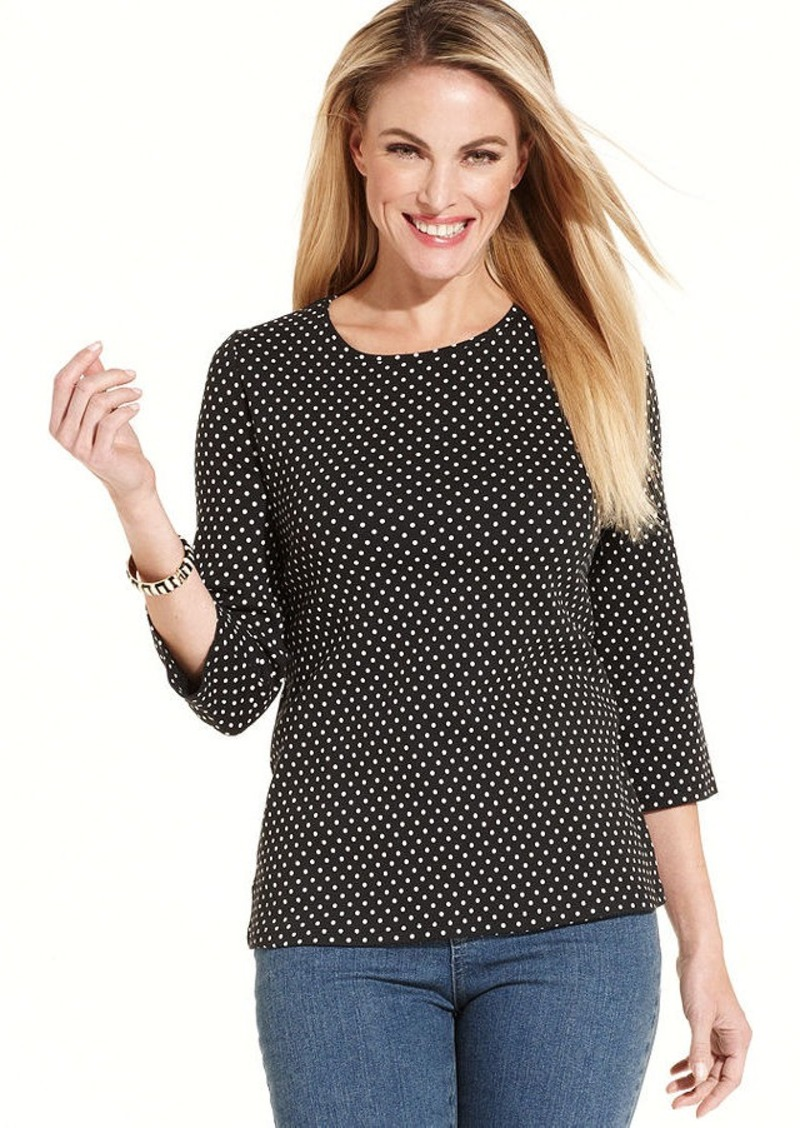 Charter Club Three-Quarter-Sleeve Polka-Dot Pima Cotton Top