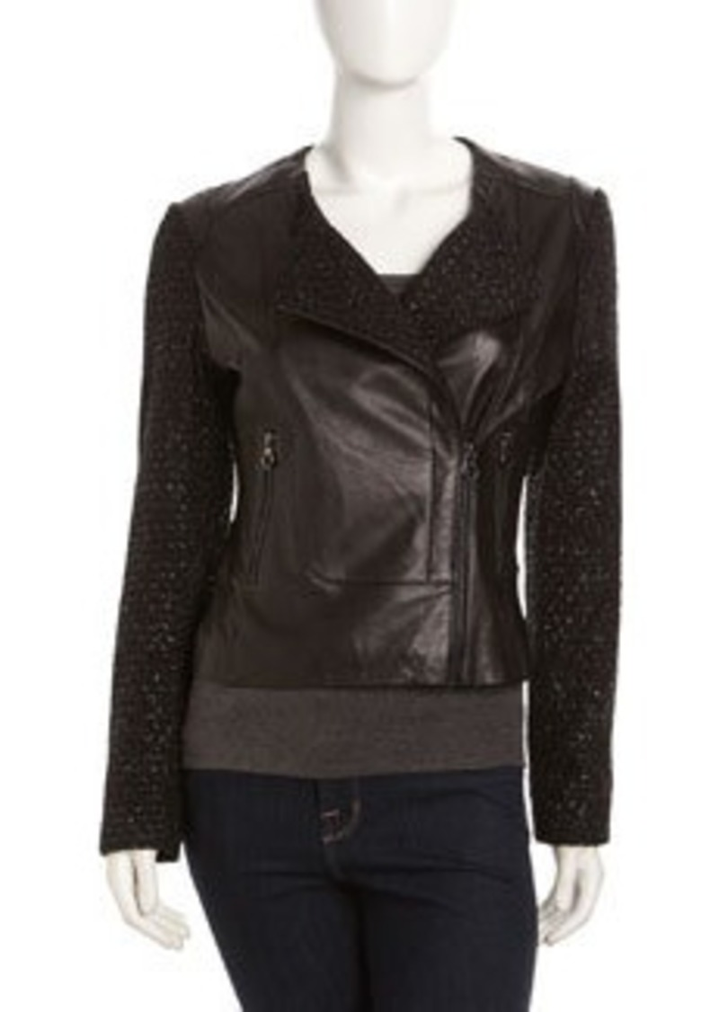 Laundry by Shelli Segal Asymmetrical Zip Mixed-Media Jacket, Black