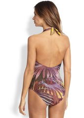 Jean Paul Gaultier One-Piece Palm-Print Halter Swimsuit