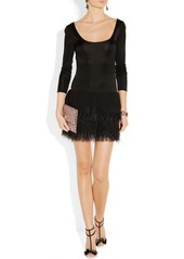 Catherine Malandrino Feather-trimmed stretch-satin jersey and chiffon dress