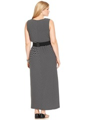 Alfani Plus Size Sleeveless Striped Belted Maxi Dress