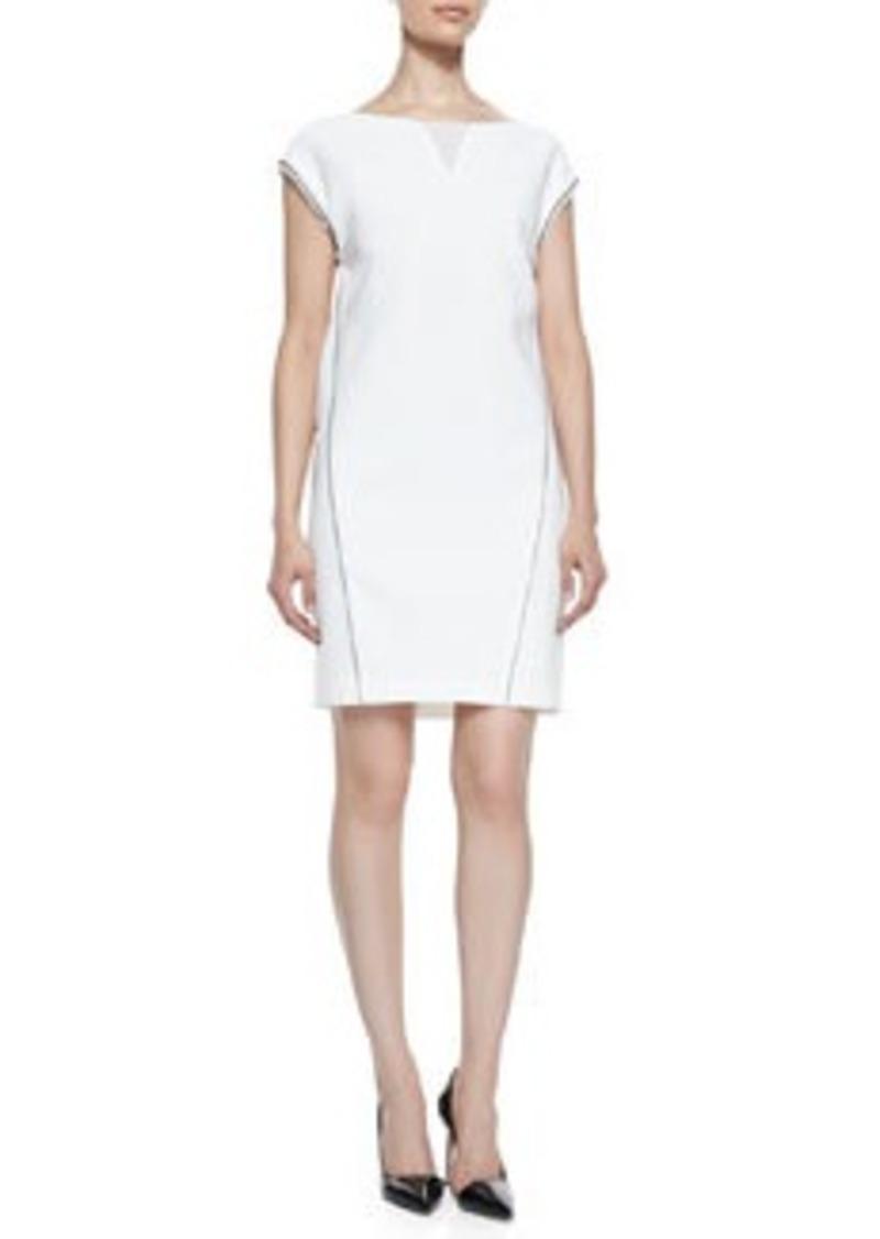 Elie Tahari Christina Cap-Sleeve Dress with Illusion V-Neck   Christina Cap-Sleeve Dress with Illusion V-Neck