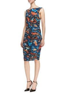 Catherine Malandrino Printed Sleeveless Ruched Jersey Dress   Printed Sleeveless Ruched Jersey Dress