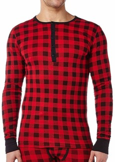 2(X)IST Men's Essential Cotton Long Sleeve Henley Buffalo Check Scooter Red/black - 61214