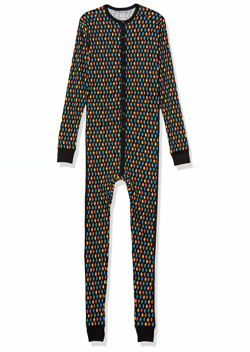 2(X)IST Men's Essential Cotton Long Underwear Union SuitLight Bulb Print/black - 07510