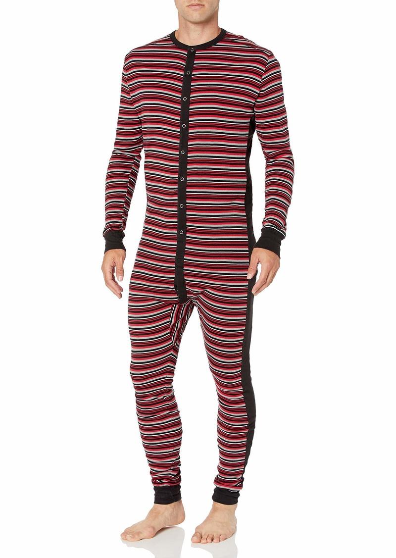 2(X)IST Men's Essential Cotton Long Underwear Union SuitVaried Stripe/Scooter Red/black - 61326