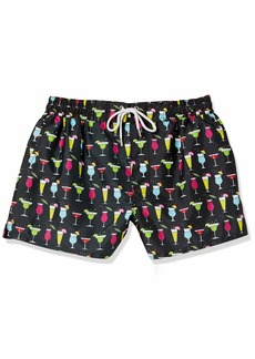 2(X)IST Men's Ibiza Swim Trunk Swimwear Cocktails-Black