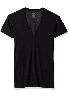 2(X)IST Men's Pima Cotton Slim Fit Deep V-neck T-shirt Underwear black MD