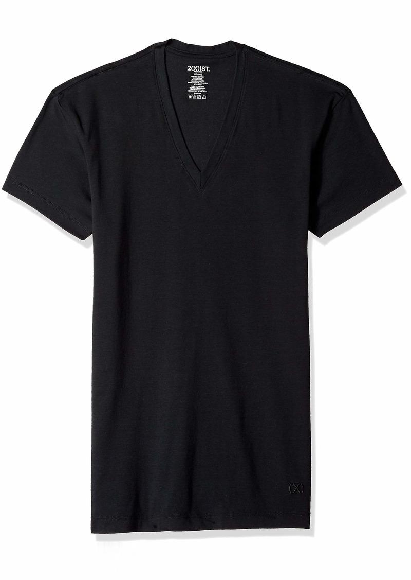 2(X)IST Men's Pima Cotton Stretch Slim Fit V-Neck T-Shirt Shirt /Natural