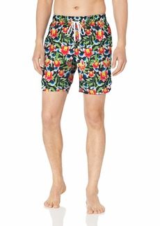 2(X)IST Men's Quick Dry Printed Board Short with Pockets Swimwear Floral-Neon White- 11308
