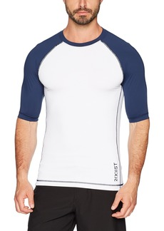 2(X)IST Men's Short Sleeve Rash Guard Swimwear White with Navy SM