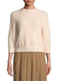 3.1 Phillip Lim 3/4-Sleeve Lofty Rib Alpaca-Blend Pullover Sweater