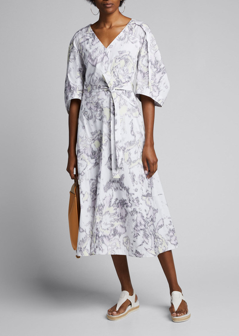3.1 Phillip Lim Abstract Daisy Poplin Balloon-Sleeve Dress