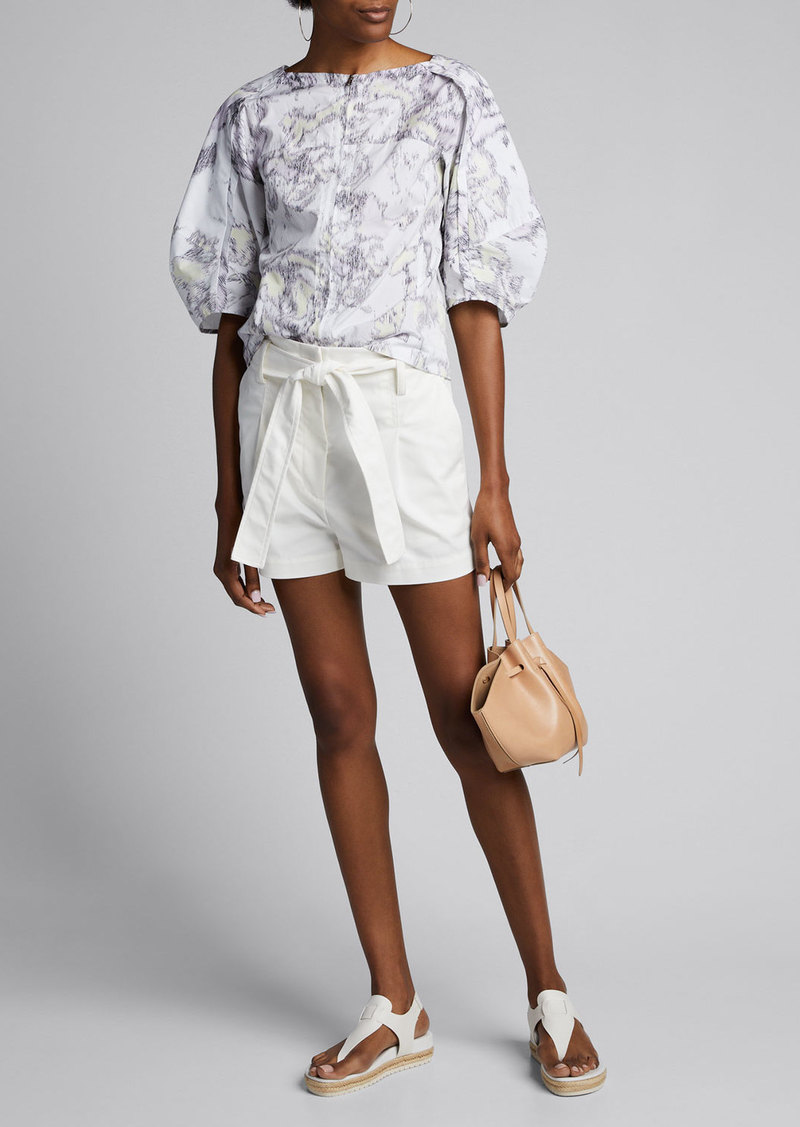 3.1 Phillip Lim Abstract Daisy Poplin Balloon-Sleeve Top