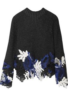 3.1 Phillip Lim Appliquéd ribbed wool-blend sweater