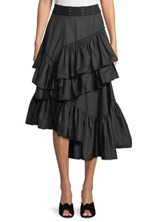 3.1 Phillip Lim Asymmetric Multilayered Cotton Midi Skirt