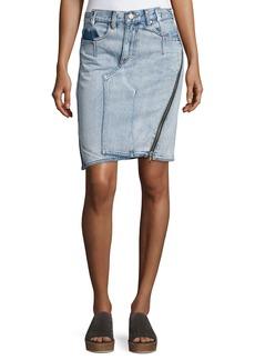 3.1 Phillip Lim Asymmetrical Denim Pencil Skirt W/ Zipper