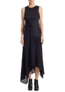 3.1 Phillip Lim Asymmetrical Feather Silk Midi Dress