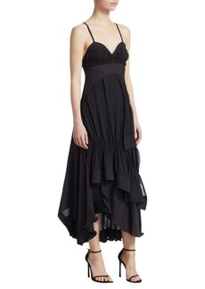 3.1 Phillip Lim Asymmetrical Silk Midi Dress