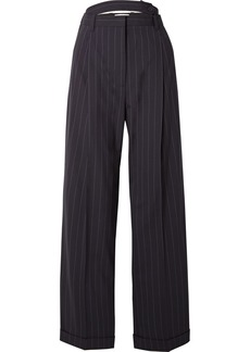 3.1 Phillip Lim Belted cutout pinstriped wool-blend pants