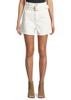 3.1 Phillip Lim Belted Paper Bag Denim High-Waist Shorts