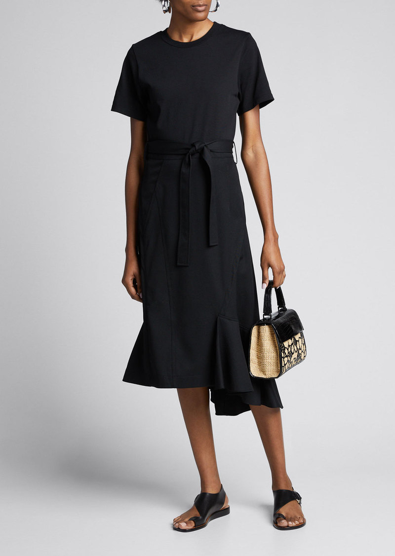 3.1 Phillip Lim Belted Wool Combo T-Shirt Dress