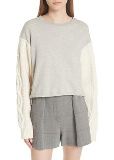 3.1 Phillip Lim Cable Knit Sleeve Sweatshirt