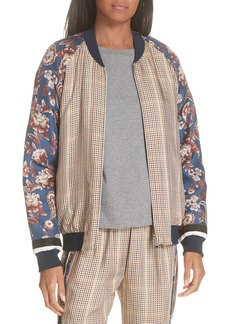 3.1 Phillip Lim Check & Floral Bomber Jacket