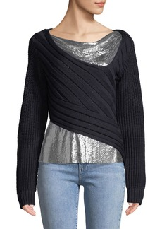 3.1 Phillip Lim Chunky Chainmail-Paneled Sweater