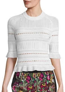 3.1 Phillip Lim Compact Pointelle Lace Raglan Tee