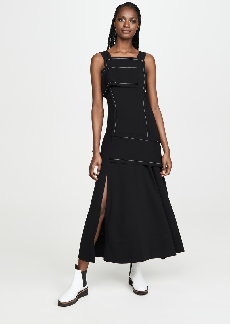 3.1 Phillip Lim Crepe Asymmetric Wrap Cold Shoulder Dress