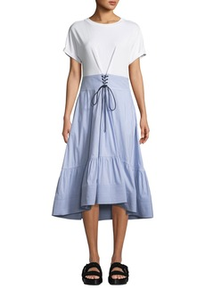 3.1 Phillip Lim Crewneck T-Shirt Dress with Corset Waist