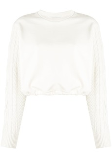 3.1 Phillip Lim cropped cable knit jumper - White