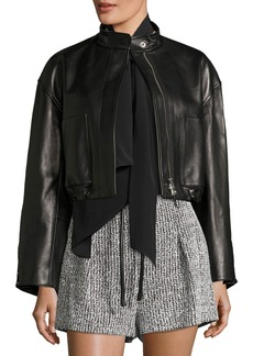 3.1 Phillip Lim Cropped Lamb Leather Bomber Jacket