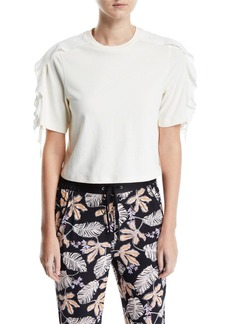 3.1 Phillip Lim Cropped Ruffle-Sleeve T-Shirt