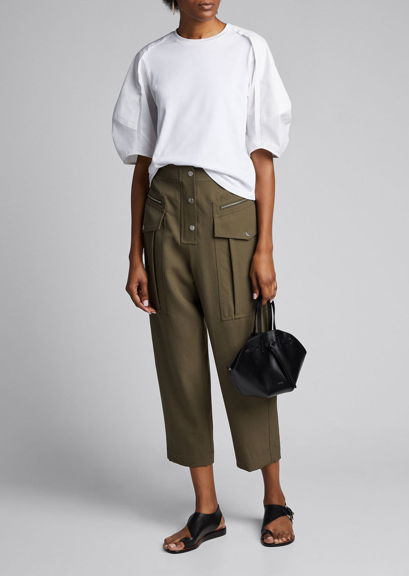 3.1 Phillip Lim Cropped Wool Snap-Front Cargo Pants