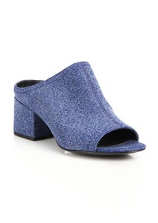 3.1 Phillip Lim Cube Denim Block Heel Mules