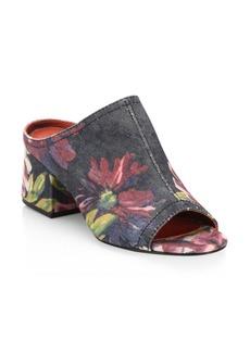 3.1 Phillip Lim Cube Floral-Print Denim Block-Heel Mules