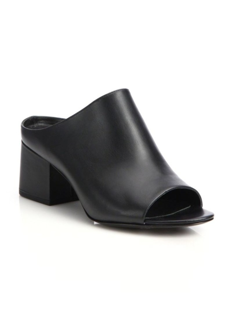 3.1 Phillip Lim Cube Leather Block Heel Mules