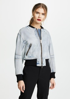 3.1 Phillip Lim Denim Bomber Jacket with Zip