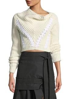 3.1 Phillip Lim Drape-Neck Cropped Cotton Pullover Sweater