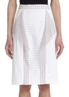3.1 Phillip Lim Draped-Panel Stretch Cotton Eyelet Skirt