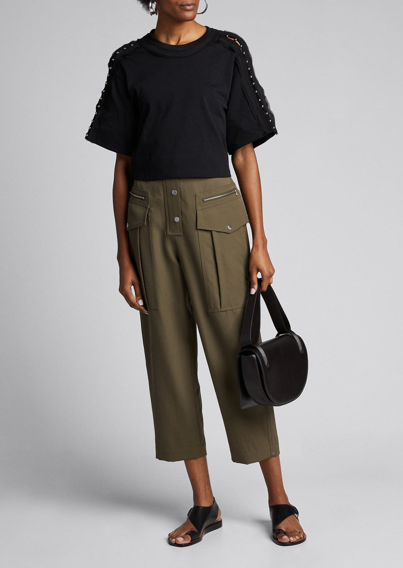 3.1 Phillip Lim Embellished-Sleeve Crop T-Shirt