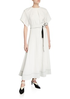 3.1 Phillip Lim Fit-&-Flare Short-Sleeve Belted Long Dress
