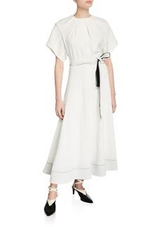 3.1 Phillip Lim Fit-&-Flare Short-Sleeve Belted Long Dress