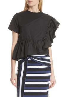 3.1 Phillip Lim Flamenco Asymmetrical Ruffle Trim Tee
