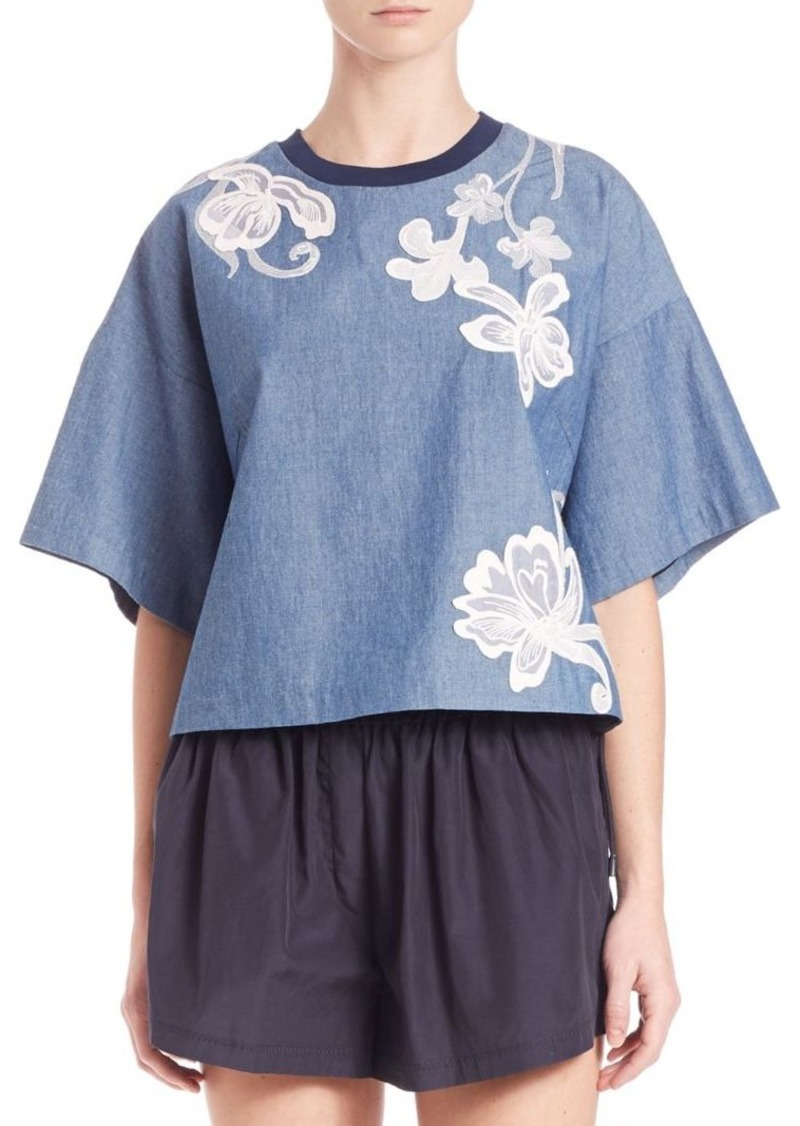 3.1 Phillip Lim Floral Embroidered Chambray Boxy Tee